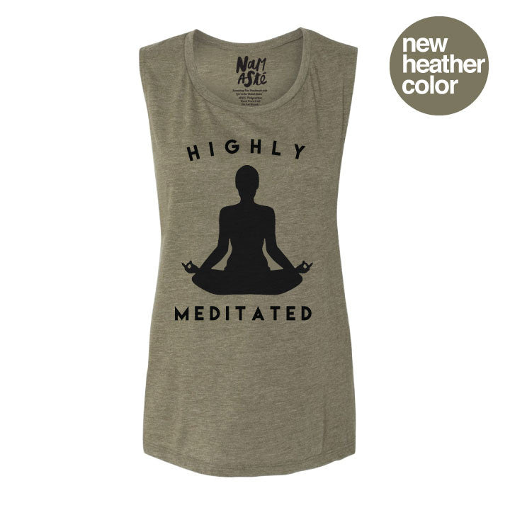 HIGHLY MEDITATED HEATHER OLIVE MUSCLE TANK - Funky Yoga  Gear & Accessories