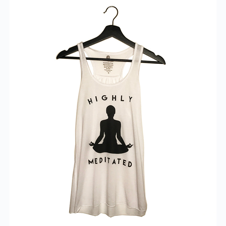 HIGHLY MEDITATED ~ WHITE FLOWY RACER TANK