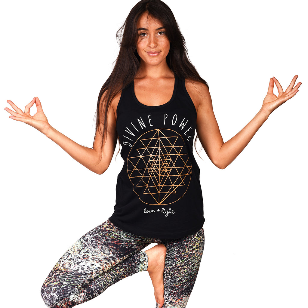 DIVINE POWER BLACK COTTON RACER TANK - Funky Yoga  Gear & Accessories