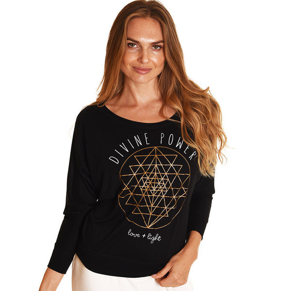 DIVINE POWER SOLID BLACK FLOWY LONG SLEEVE - Funky Yoga  Gear & Accessories