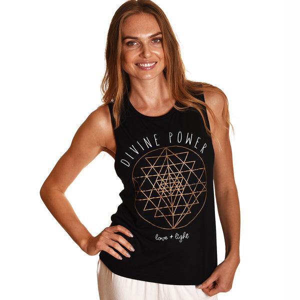 DIVINE SOLID BLACK POWER FLOWY MUSCLE TANK