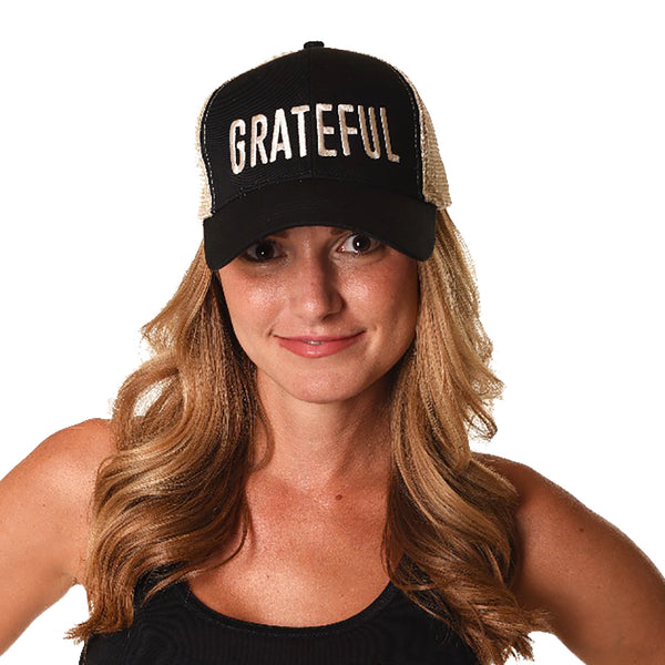 GRATEFUL BLACK ECO UNISEX TRUCKER MESH CAP - Funky Yoga  Gear & Accessories