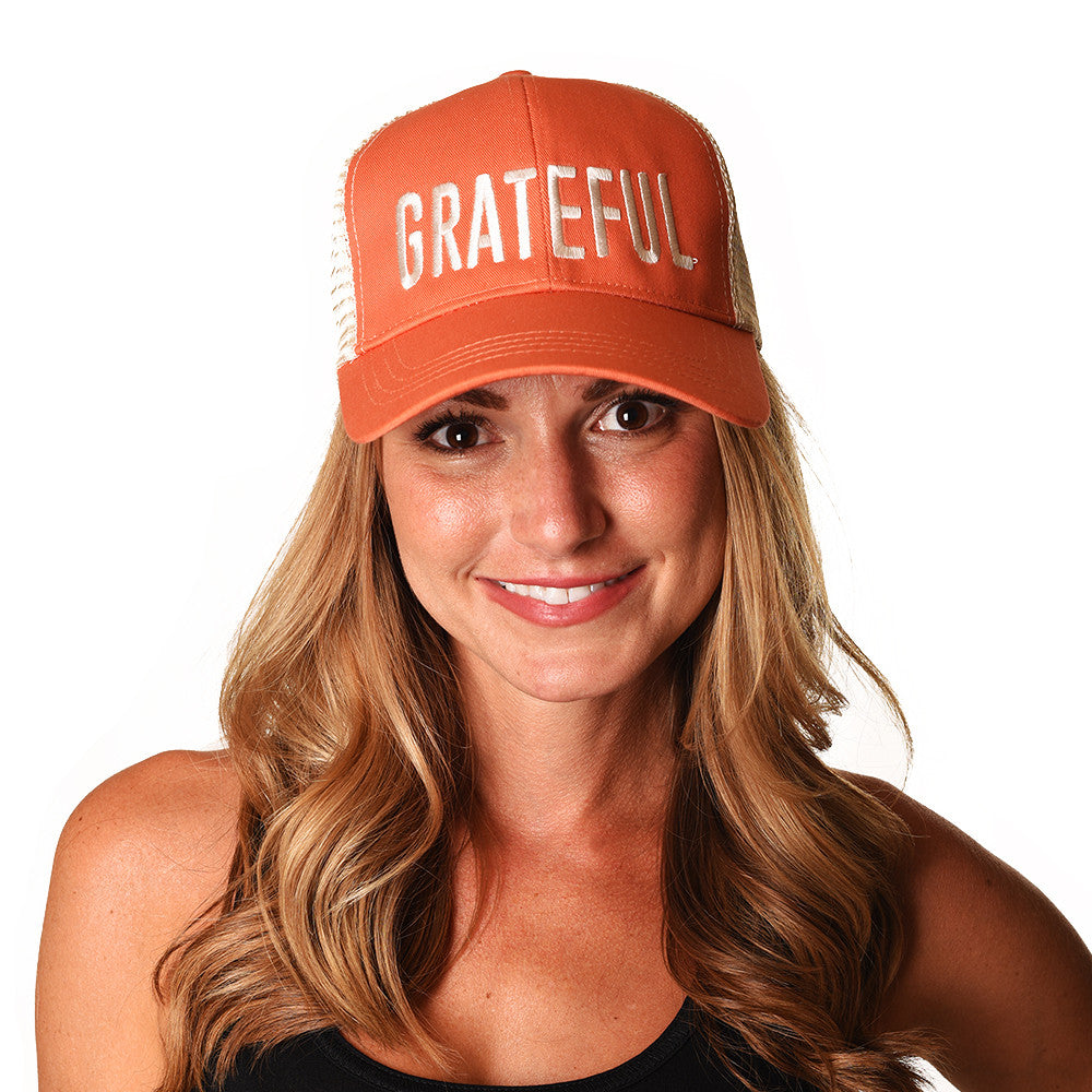 GRATEFUL ORANGE ECO UNISEX TRUCKER MESH CAP - Funky Yoga  Gear & Accessories