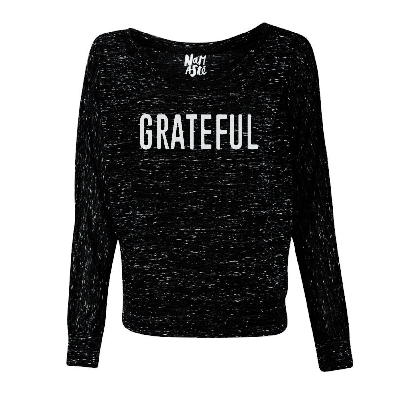 GRATEFUL ~ BLACK / BLACK MARBLE  FLOWY LONG SLEEVES