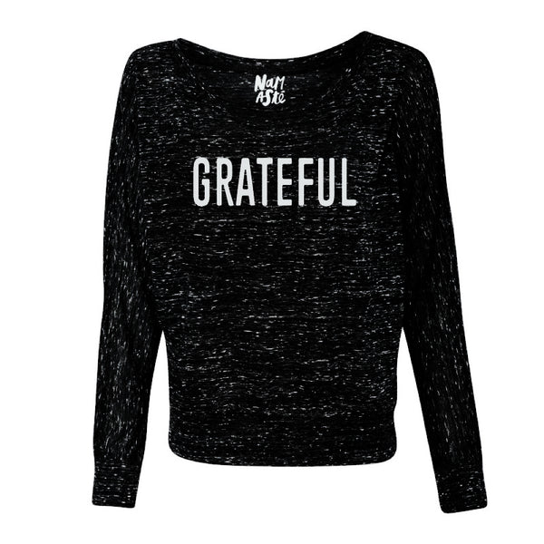 GRATEFUL ~ BLACK MARBLE  FLOWY LONG SLEEVES