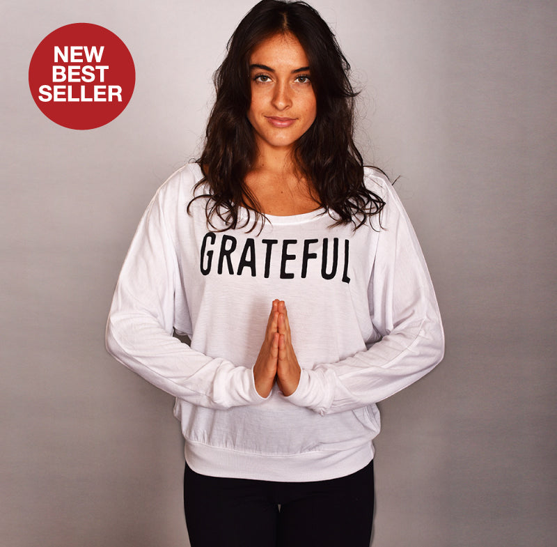 GRATEFUL WHITE  FLOWY LONG SLEEVES - Funky Yoga  Gear & Accessories