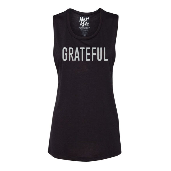 GRATEFUL ~ BLACK FLOWY MUSCLE TANK