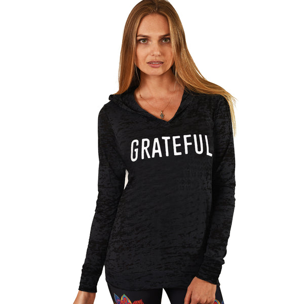 GRATEFUL ~ BLACK BURNOUT HOODIE