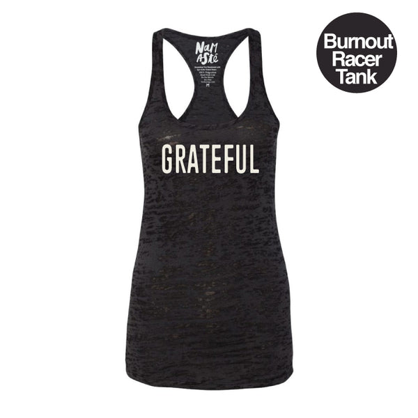 GRATEFUL BLACK BURNOUT RACER TANK