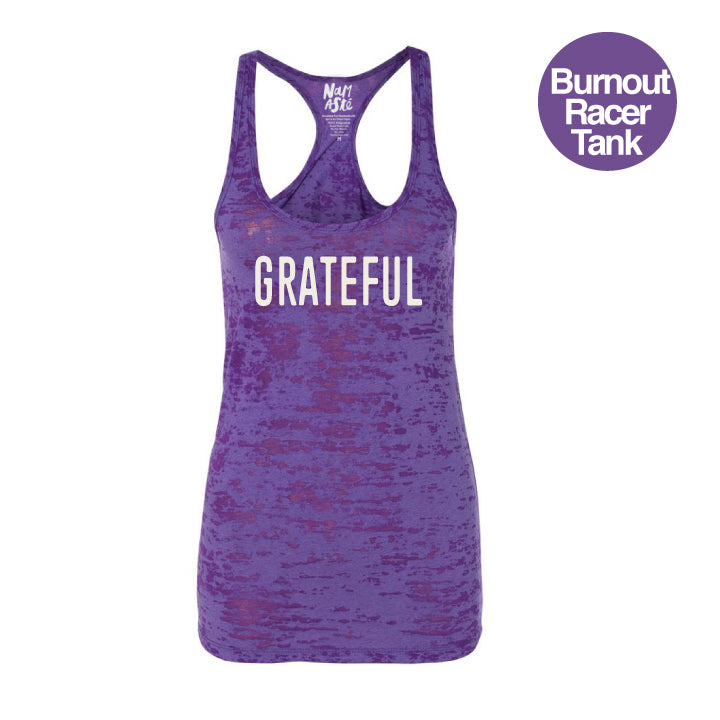 GRATEFUL ~ PURPLE BURNOUT RACER TANK