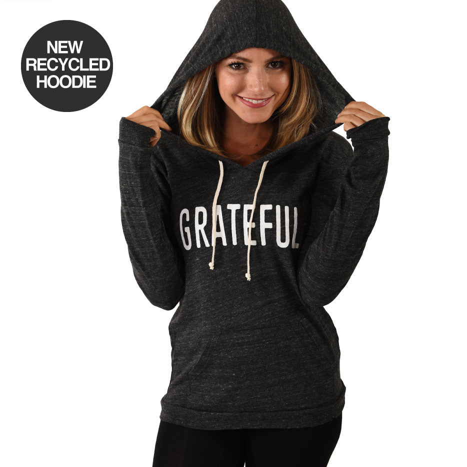 GRATEFUL ~ ORGANIC BLACK HEATHER HOODIE