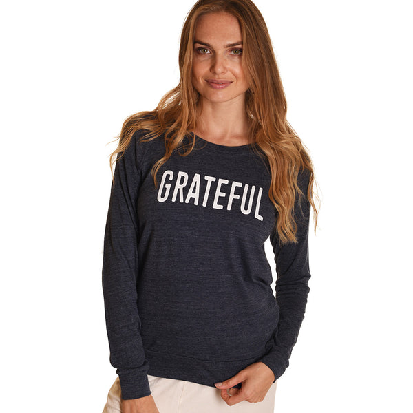 GRATEFUL ORGANIC HEATHER BLACK RECYCLED PULLOVER - Funky Yoga  Gear & Accessories