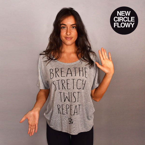 TWIST REPEAT HEATHER GREY FLOWY CIRCLE TOP
