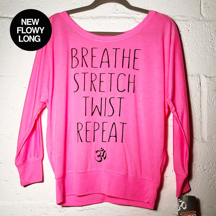 BREATHE STRETCH ~ HOT PINK FLOWY LONG SLEEVES