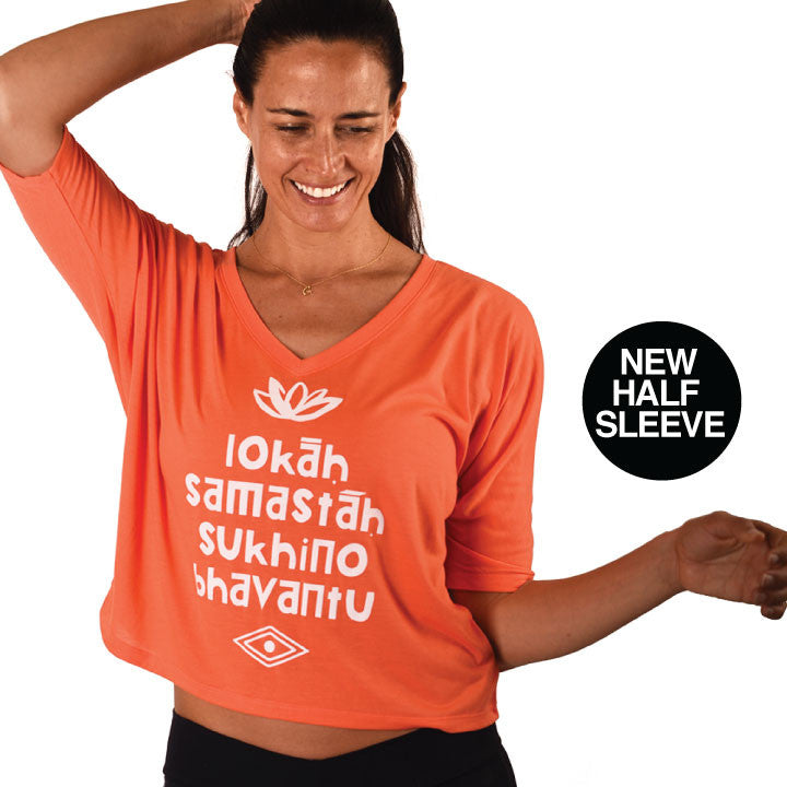 LOKAH CORAL FLOWY V-NECK HALF SLEEVE - Funky Yoga  Gear & Accessories