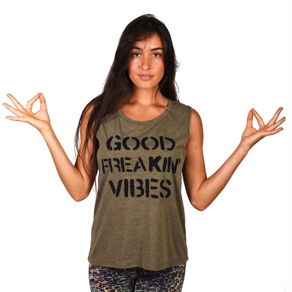 FREAKING VIBES HEATHER OLIVE FLOWY MUSCLE TANK
