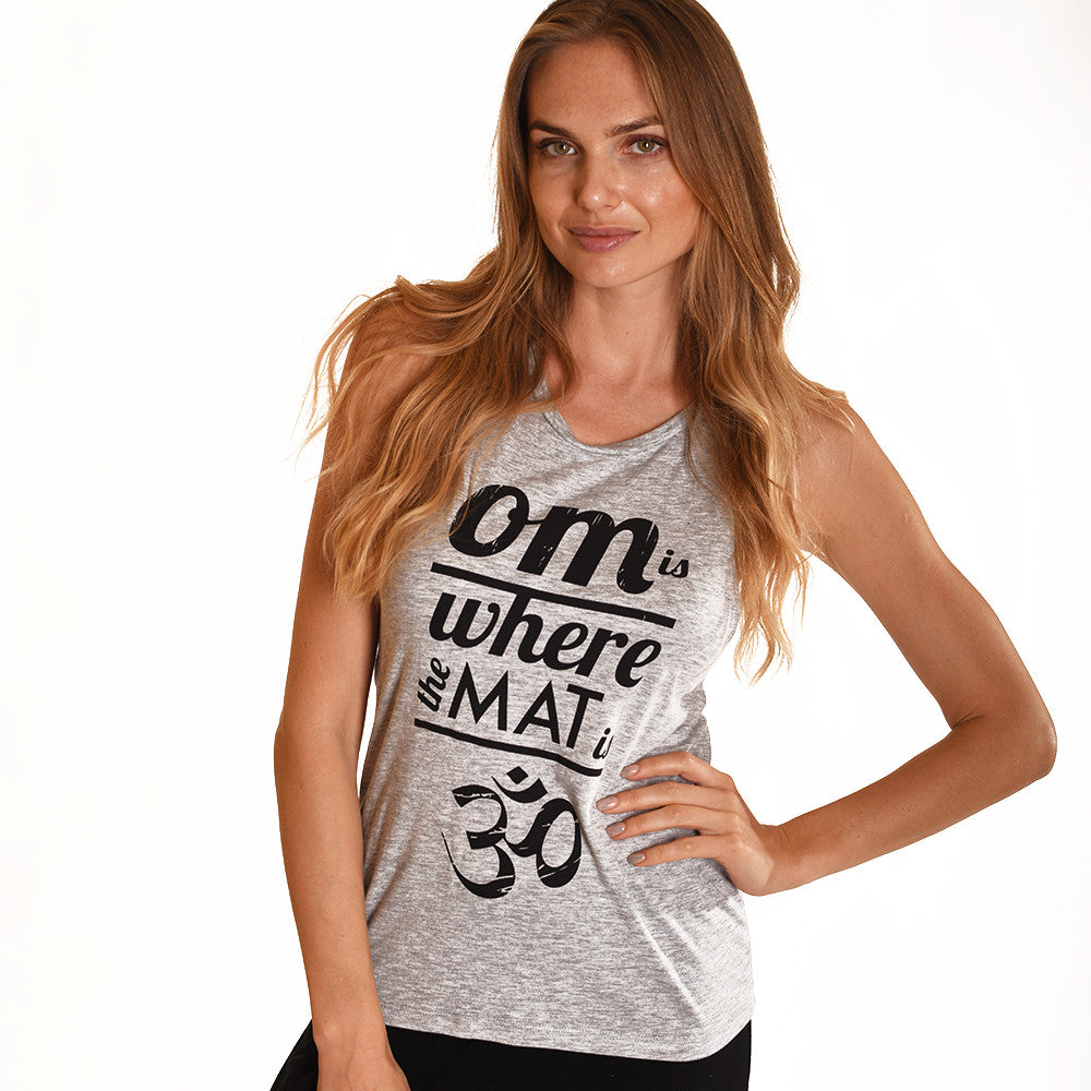 OM IS WHERE HEATHER GREY MUSCLE TANK