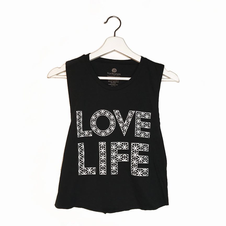 LOVE LIFE ~ BLACK COTTON MUSCLE CROP TANK