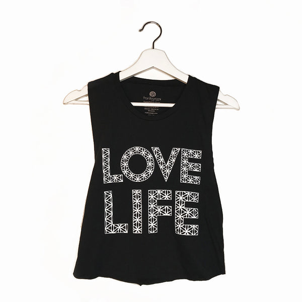 850f37a8f LOVE LIFE ~ BLACK COTTON MUSCLE CROP TANK