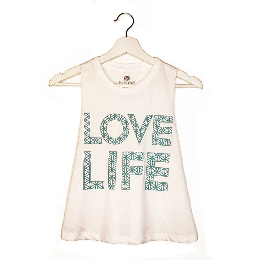 LOVE LIFE ~ WHITE CROPPED RACER TANK