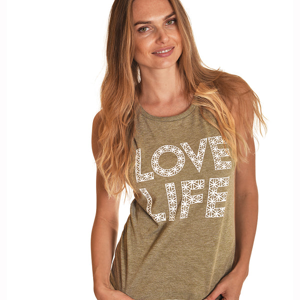 LOVE LIFE ~ HEATHER OLIVE MUSCLE TANK