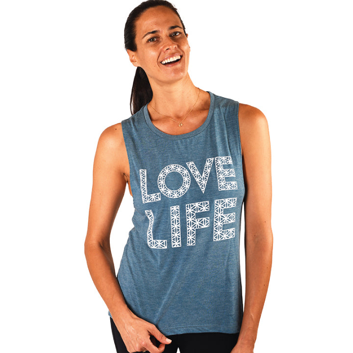 LOVE LIFE ~ HEATHER TEAL FLOWY MUSCLE TANK