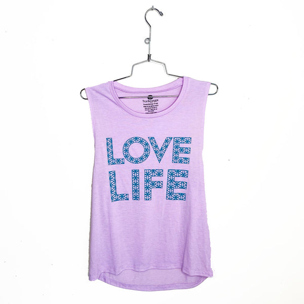 LOVE LIFE ~ LILAC FLOWY MUSCLE TANK