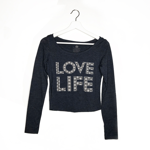 LOVE LIFE ~ HEATHER BLACK TRIBLEND CROP LONG