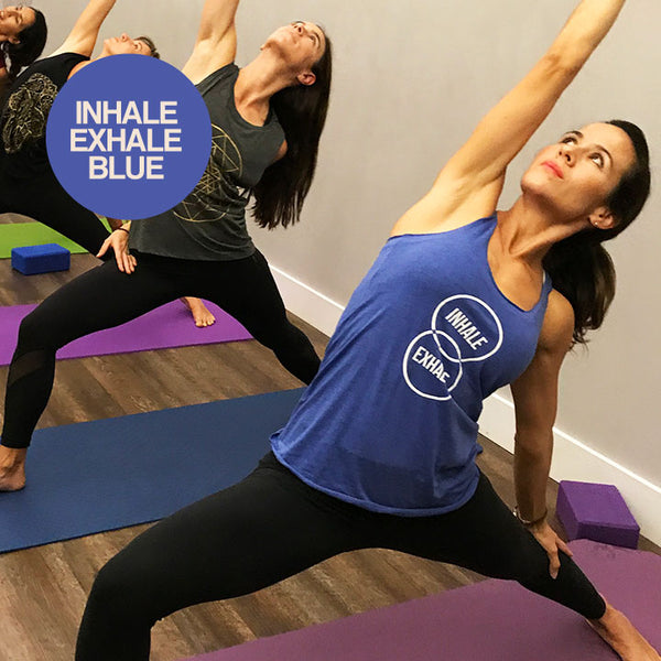 EXHALE ROYAL BLUE TRIBLEND RACER TANK