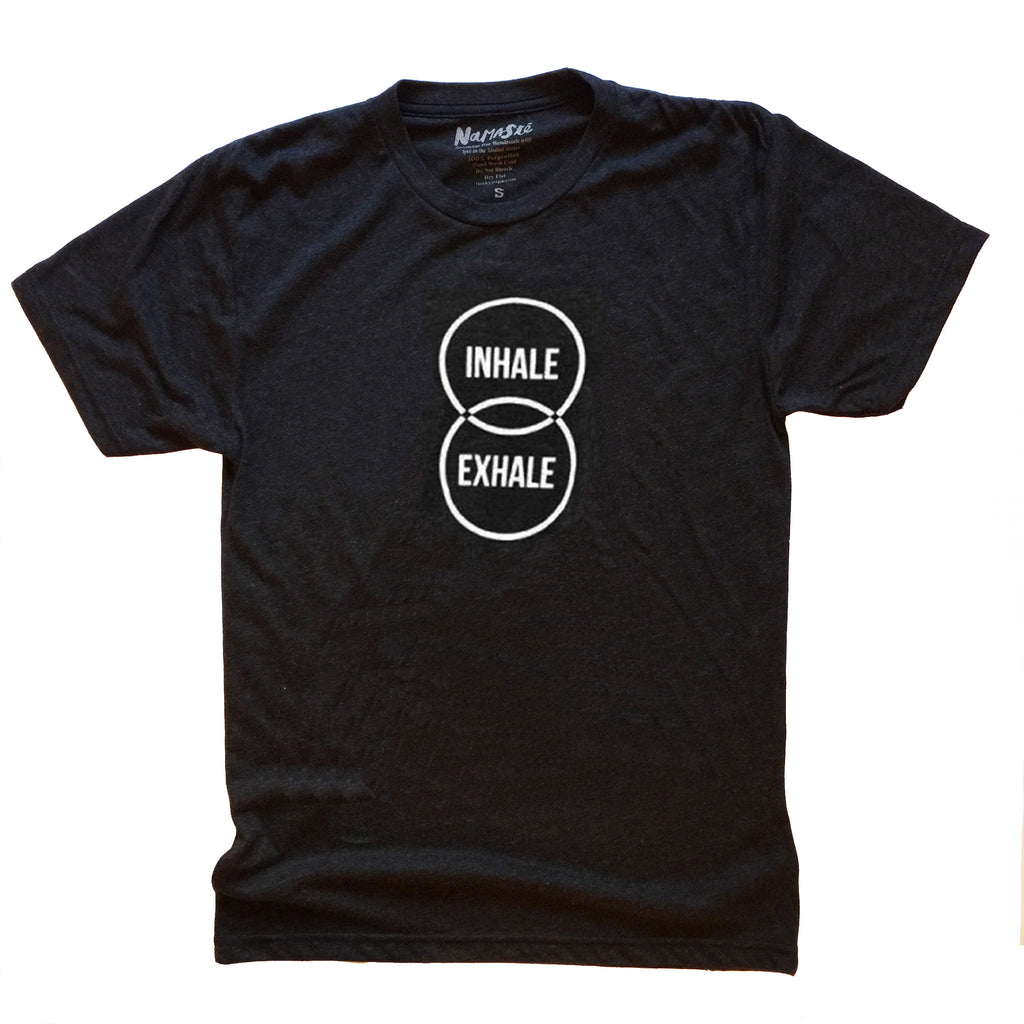 INHALE EXHALE ~ HEATHER BLACK MENS TRIBLEND CREW T-SHIRT