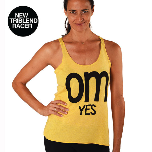 OM YES HEATHER YELLOW TRIBLEND RACER TANK