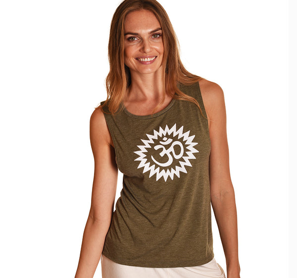 OM POWER HEATHER OLIVE MUSCLE TANK