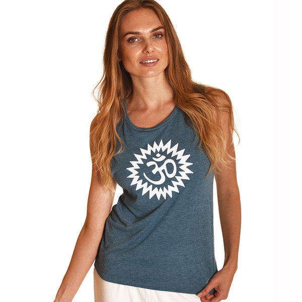 OM POWER HEATHER TEAL MUSCLE TANK