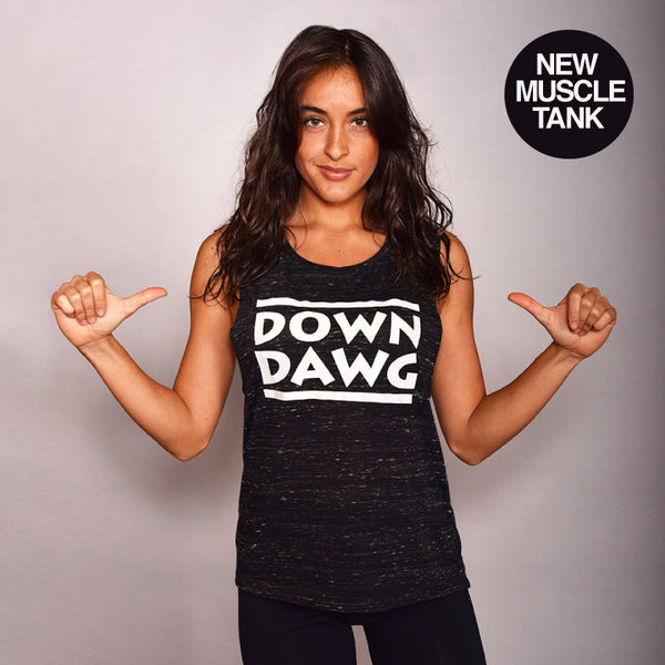 DOWN DAWG FLOWY MARBLE BLACK MUSCLE TANK