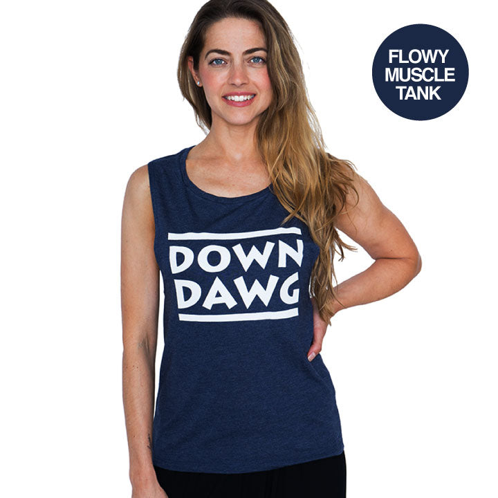 DOWN DAWG HEATHER NAVY FLOWY  MUSCLE TANK - Funky Yoga  Gear & Accessories