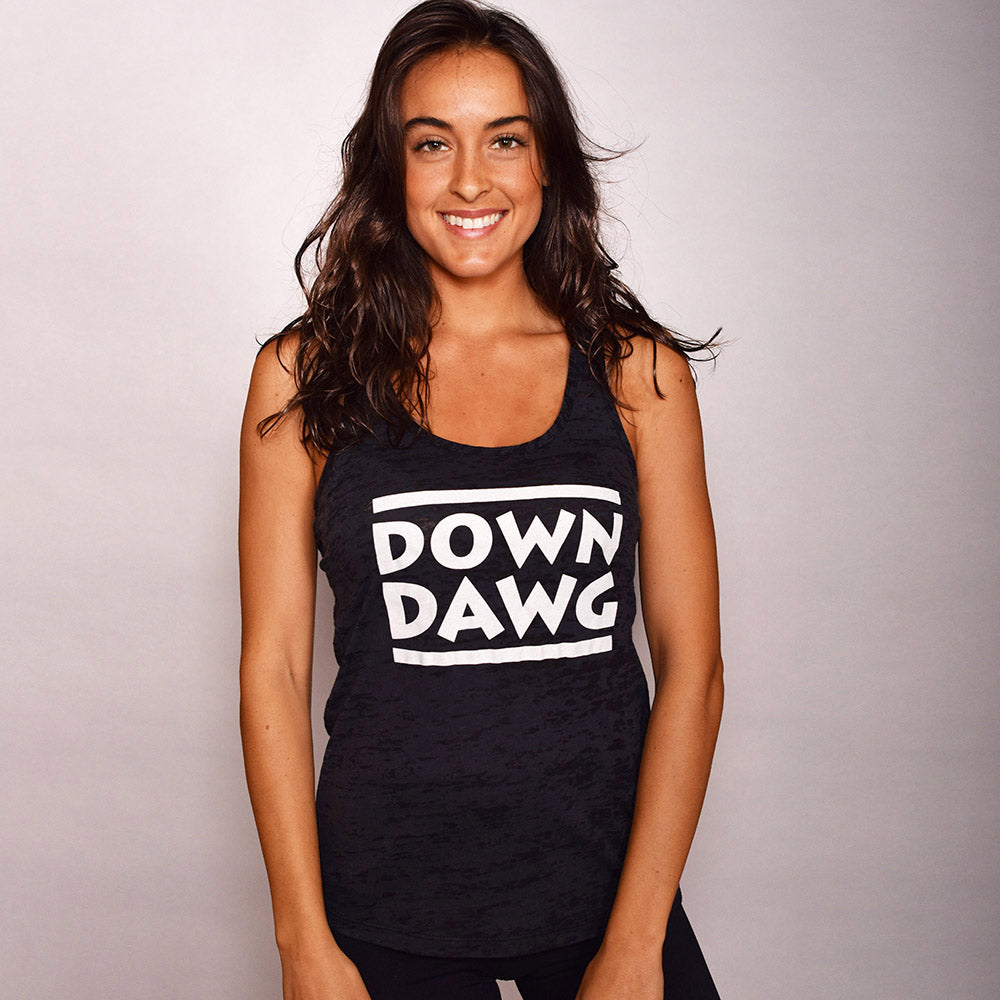DOWN DAWG ~ HEATHER BLACK TRIBLEND RACER TANK