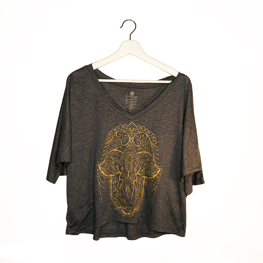 HAMSA ELEPHANT DARK HEATHER GREY  FLOWY V-NECK  3/4  SLEEVE