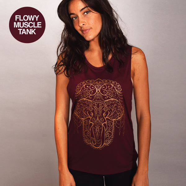 HAMSA ELEPHANT BURGUNDY FLOWY MUSCLE TANK - Funky Yoga  Gear & Accessories