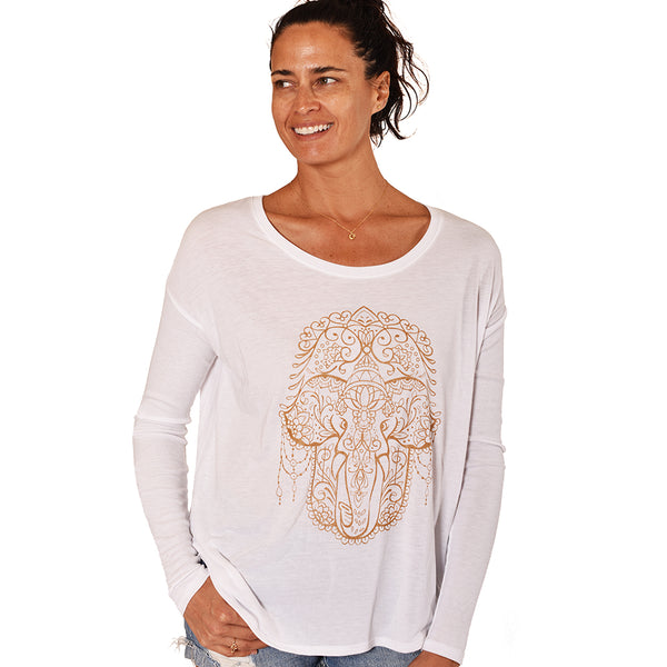 HAMSA ELEPHANT ~ WHITE FLOWY RIB LONG