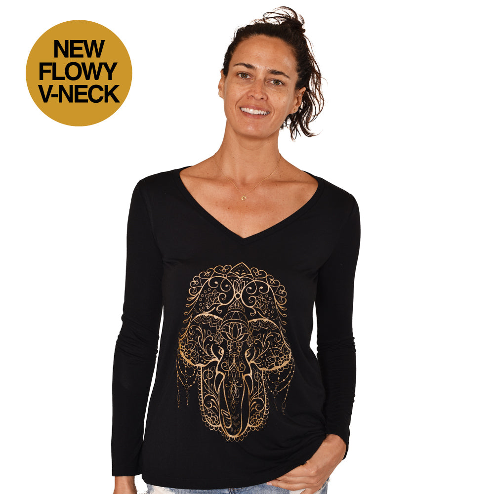 HAMSA ELEPHANT FLOWY V-NECK LONG SLEEVES - Funky Yoga  Gear & Accessories