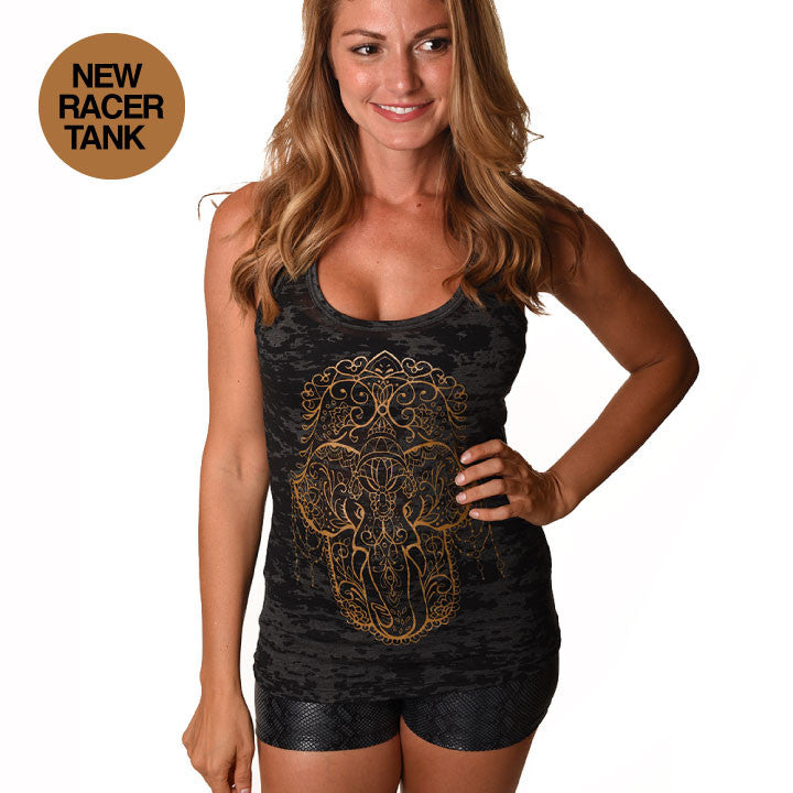 HAMSA ELEPHANT GOLD BURNOUT RACER TANK - Funky Yoga  Gear & Accessories