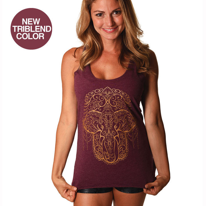 HAMSA ELEPHANT BURGUNDY TRIBLEND RACER TANK - Funky Yoga  Gear & Accessories