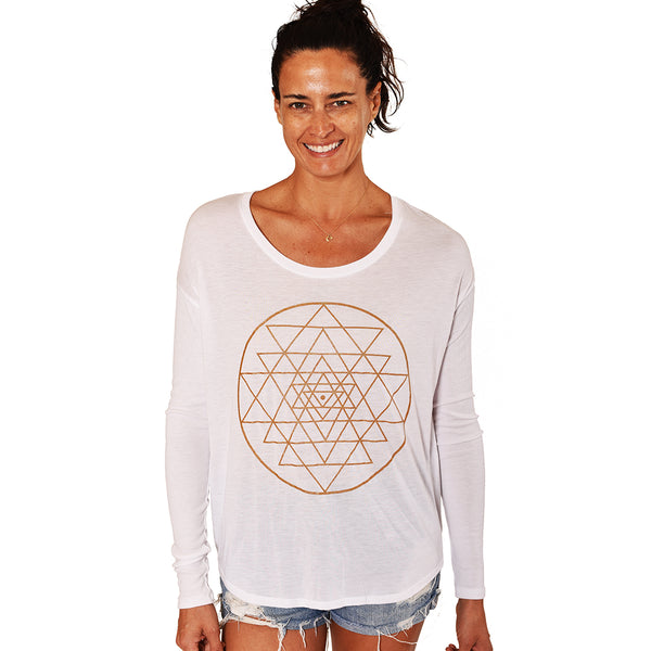 SRI YANTRA GOLD ~ WHITE FLOWY RIB LONG