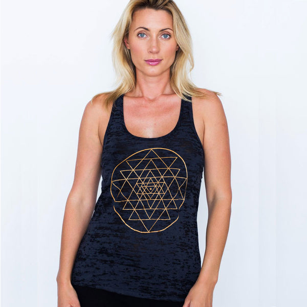 SRI YANTRA ~ BLACK BURNOUT RACER TANK