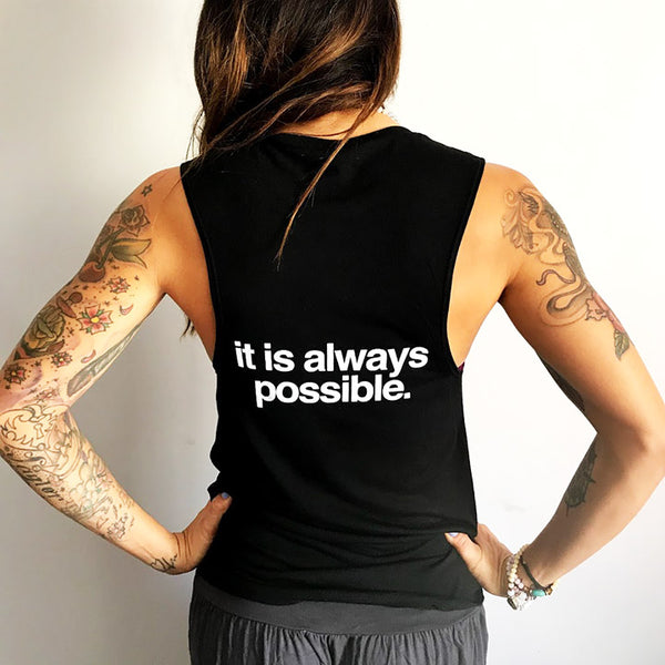 ALWAYS POSSIBLE SOLID BLACK FLOWY MUSCLE TANK - Funky Yoga  Gear & Accessories