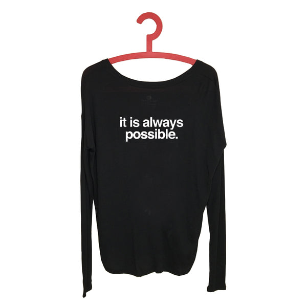 IT IS ALWAYS POSSIBLE ~ SOLID BLACK RIB LONG SLEEVE