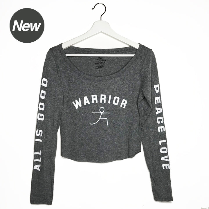 WARRIOR PEACE LOVE ~ HEATHER GREY TRIBLEND CROP LONG