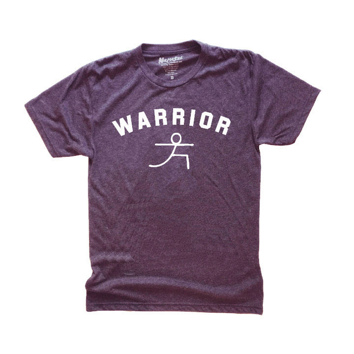 WARRIOR POSE  ~ HEATHER PLUM MENS TRIBLEND CREW T-SHIRT