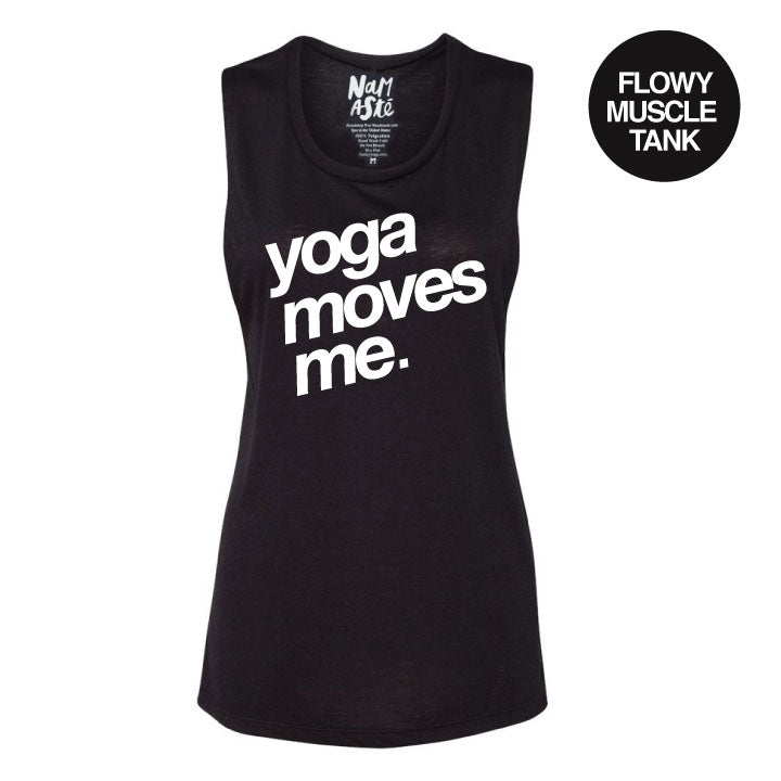 YOGA MOVES ME ~ SOLID BLACK FLOWY MUSCLE TANK