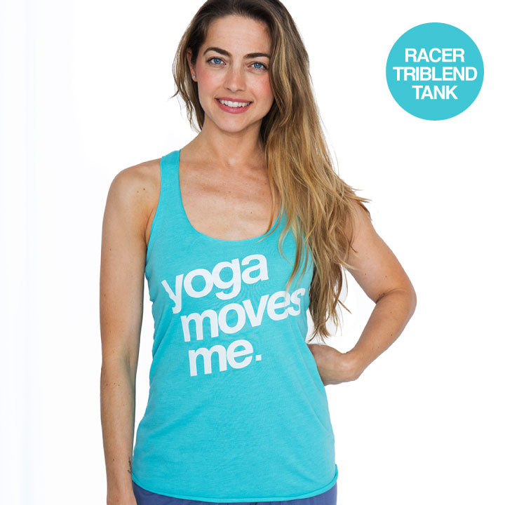 YOGA MOVES ME AQUA TRIBLEND RACER TANK